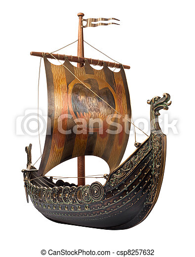 antik, viking hajó, fehér, elszigetelt - csp8257632