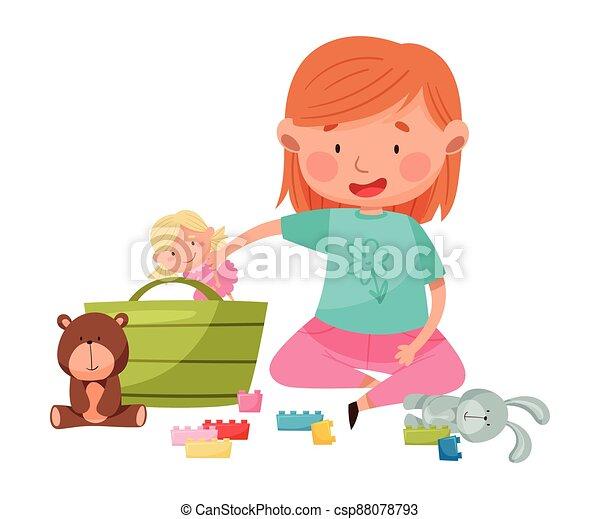 apró, különböző, ülés, emelet, leány, gyerekszoba, furcsa, játék, vektor, ábra - csp88078793