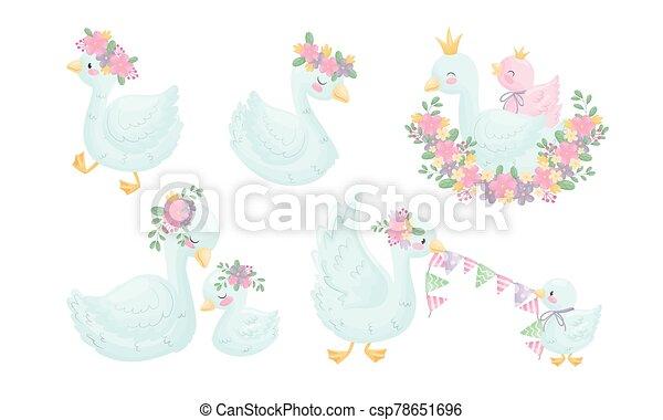 arany-, állhatatos, betű, fejtető, karikatúra, vektor, alvás, liba, virágos, barka, koszorú, ülés, -e - csp78651696