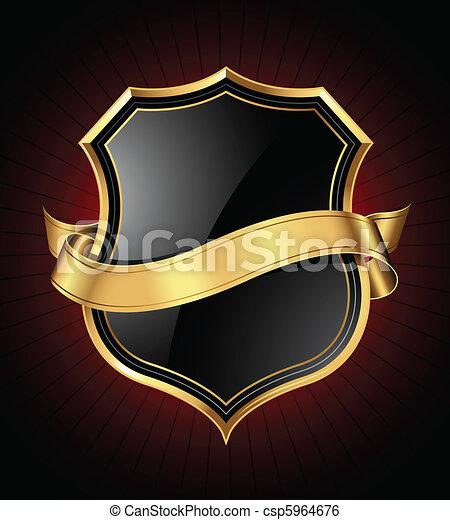 arany, fekete, pajzs, szalag - csp5964676