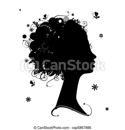 arcél, frizura, árnykép, tervezés, női, virágos, -e - csp5867986