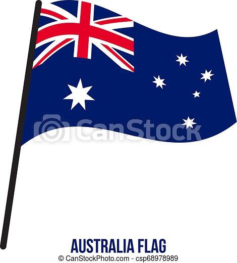 ausztrália, flag., nemzeti, ábra, hullámzás, háttér., lobogó, vektor, fehér - csp68978989