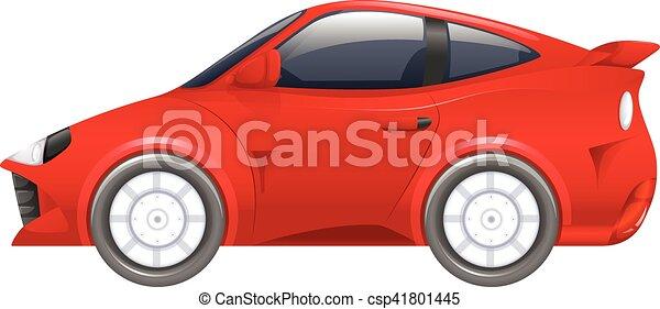 autó, fehér, versenyzés, piros háttér - csp41801445