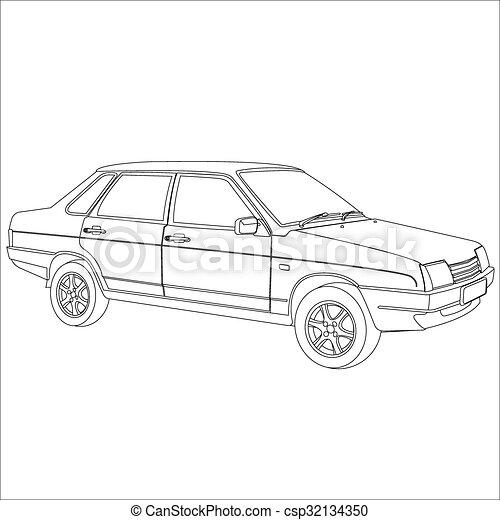 autó, retro - csp32134350