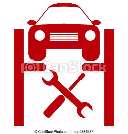 autó szolgáltatás, ikon - csp9334537