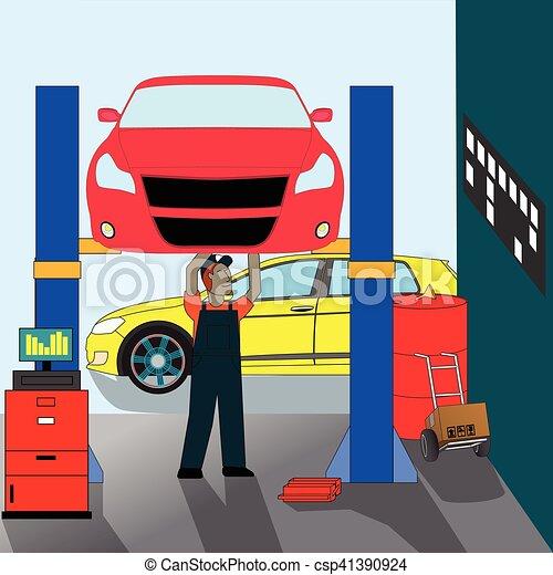 autószerelő, álló, rendbehozás - csp41390924
