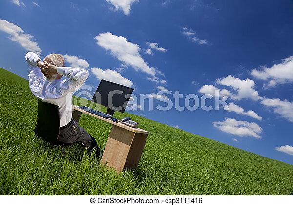 bágyasztó, hivatal, mező, zöld asztal, ember - csp3111416