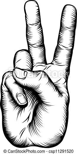 béke cégtábla, diadal, v, kéz, vagy, üdvözöl - csp11291520