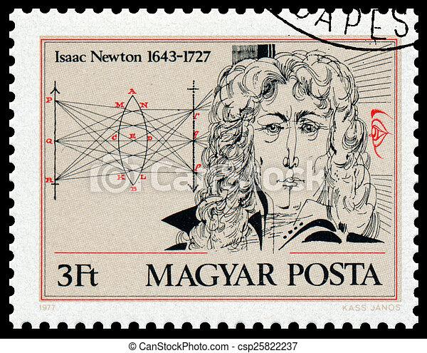 bélyeg, newton, nyomtatott, magyarország, isaac, portré, látszik - csp25822237
