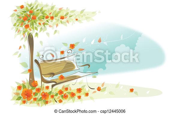 bírói szék, fa, alatt - csp12445006