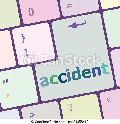 baleset, számítógép, gombol, beír, ábra, vektor, kulcs, billentyűzet - csp34858410