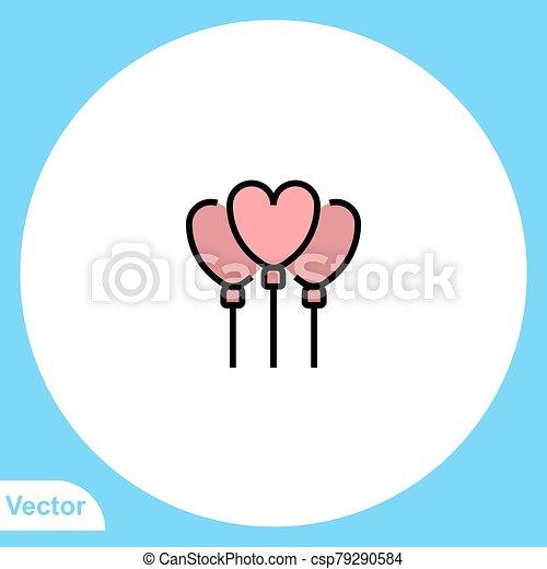 balloon, jelkép, ikon, aláír, vektor - csp79290584