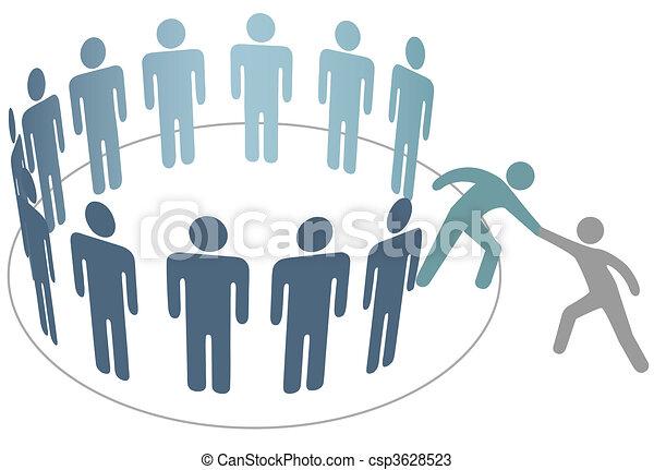 barát, emberek, csatlakozik, felszolgál, tagok, csoport, társaság, pártfogó - csp3628523