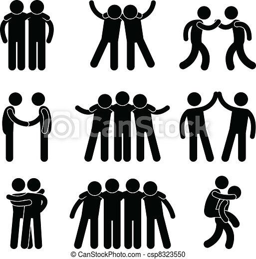 barátság, barát, rokonság, befog - csp8323550