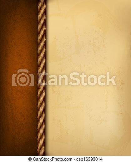 barna, öreg, illustration., szüret, leather., dolgozat, vektor, háttér - csp16393014