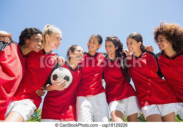 befog, ellen, futball, női, tiszta égbolt - csp18129226