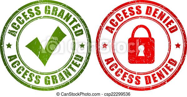 belépés, bélyeg, granted, tiltott - csp22299536