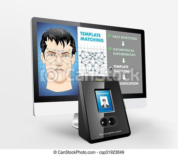 belépés, biometric, -, elismerés, arc - csp31923849