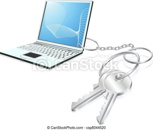 belépés, kulcsok, fogalom, laptop - csp8044520