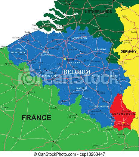 belgium, térkép - csp13263447