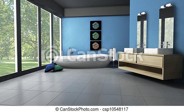 belső, fürdőszoba, liget, kilátás - csp10548117