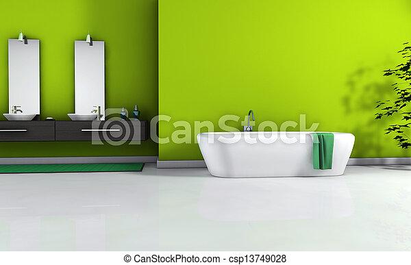 belső, fürdőszoba, zöld - csp13749028