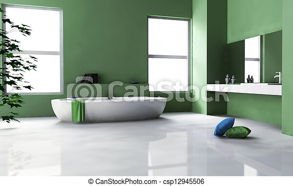belső, zöld, fürdőszoba, tervezés - csp12945506