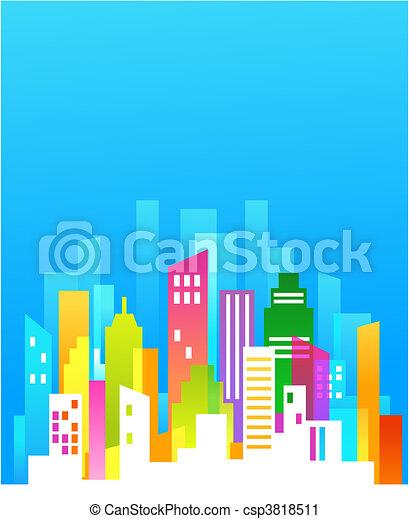 belvárosi, kék ég, háttér - csp3818511
