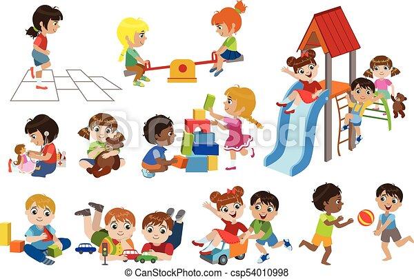 bent, játék, gyerekek, állhatatos - csp54010998