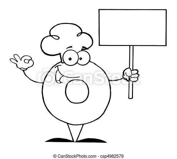 betű, karikatúra, fánk - csp4982579