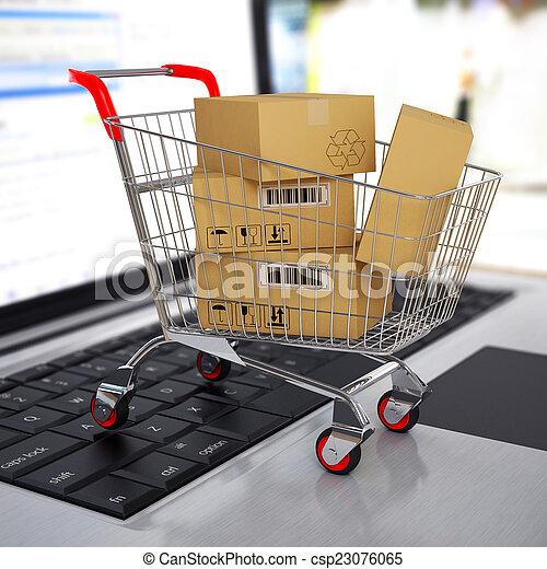 bevásárlás, laptop., kordé, dobozok, e-commerce., kartonpapír, 3 - csp23076065