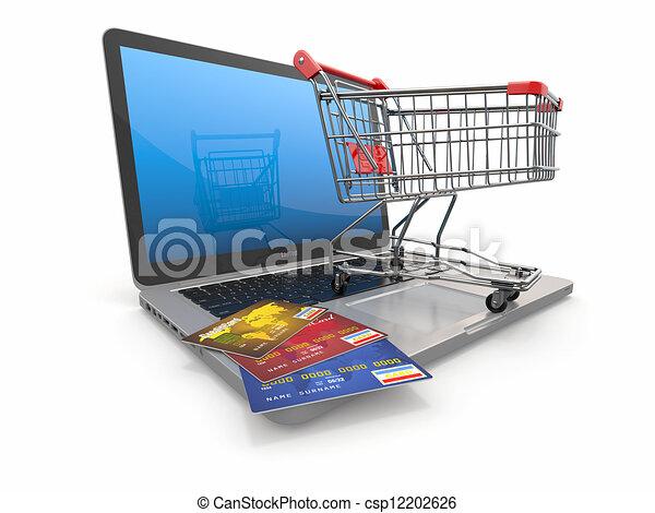 bevásárlás, laptop, kordé, hitel, e-commerce., kártya - csp12202626