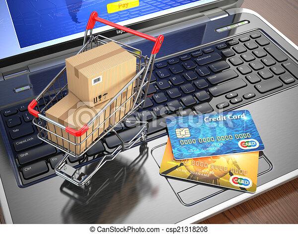 bevásárlás, laptop., kordé, hitel, e-commerce., kártya - csp21318208