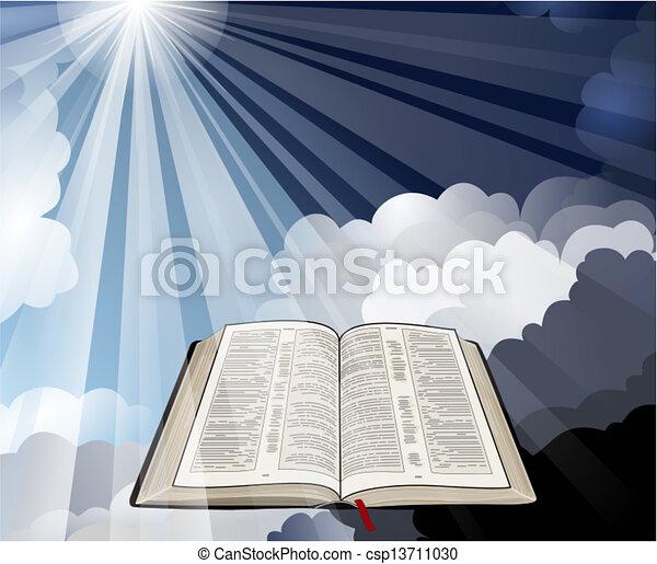 biblia, küllők, nyílik, fény - csp13711030