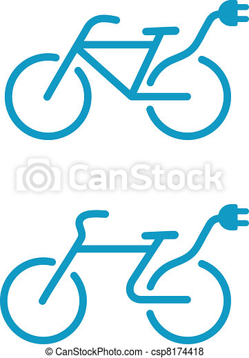 bicikli, elektromos, ikon - csp8174418