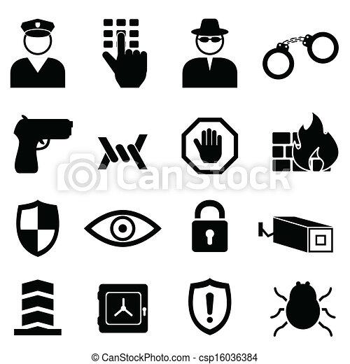 biztonság, állhatatos, biztonság, ikon - csp16036384