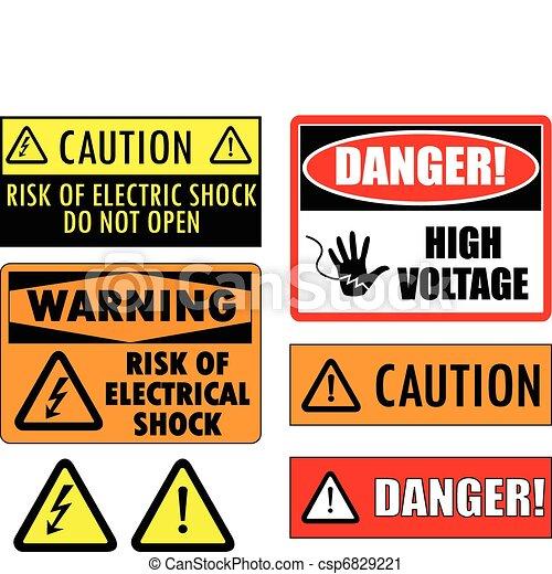 biztonság, elektromos, cégtábla - csp6829221