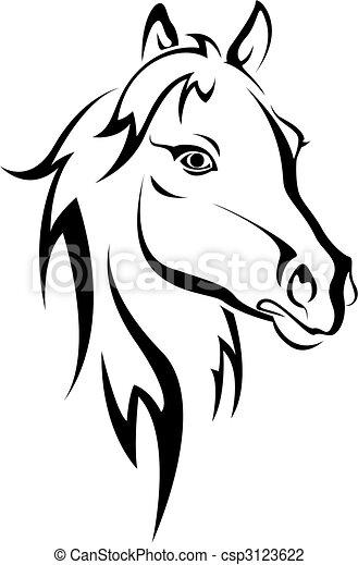 black ló, árnykép - csp3123622