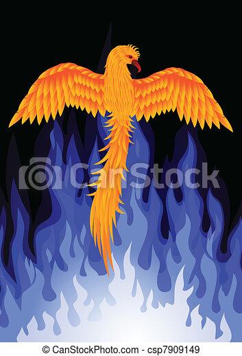 blue láng, madár, főnix madár - csp7909149