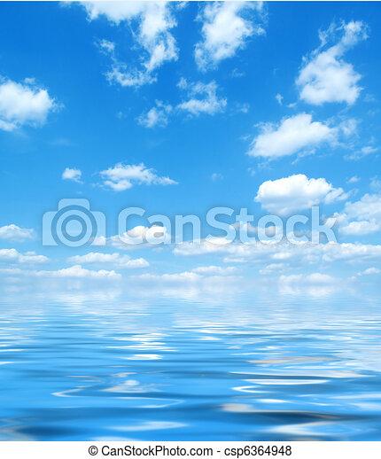 blue víz, ég, visszaverődés - csp6364948