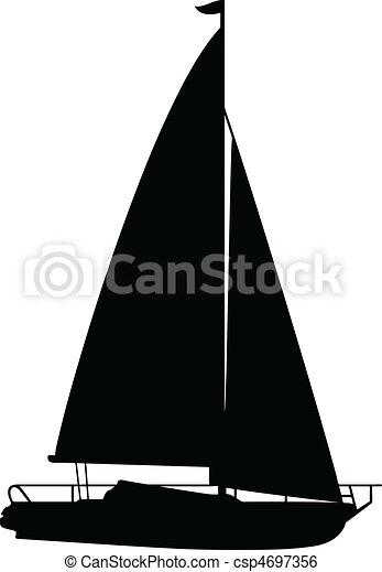 boat1, vektor, körvonal - csp4697356