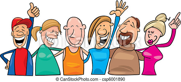 boldog, csoport, emberek - csp6001890