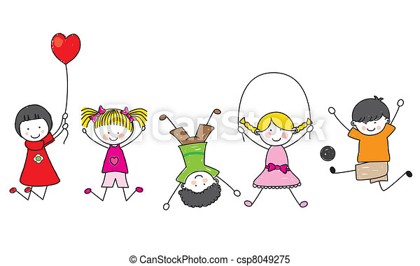 boldog, gyerekek, játék - csp8049275