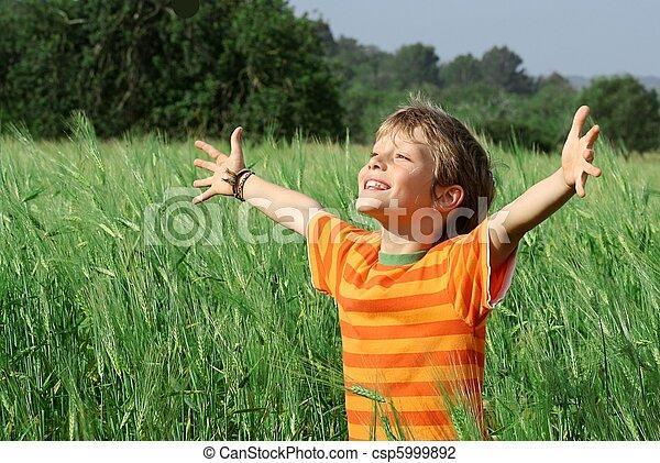 boldog, gyermek, nyár, egészséges - csp5999892