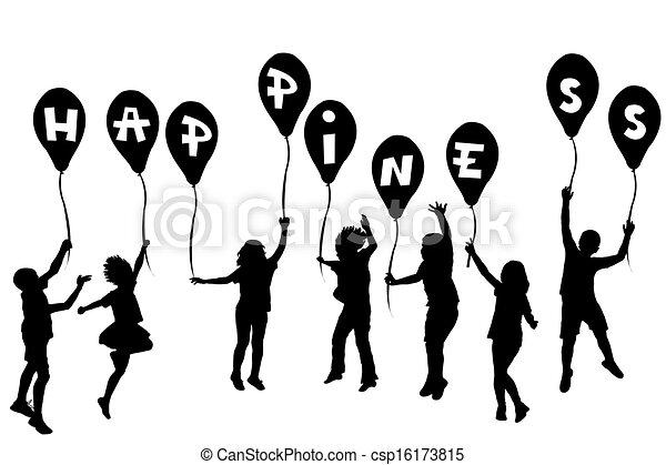 boldogság, körvonal, léggömb, gyerekek, birtok - csp16173815