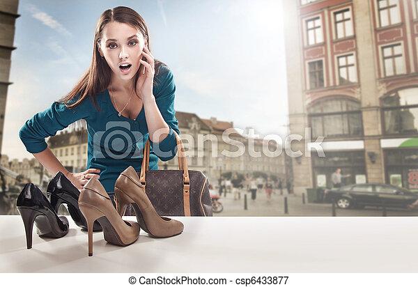 bolt, látszó, ablak, nő, fiatal - csp6433877
