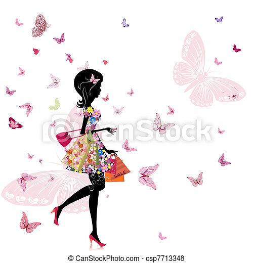 bolt, leány, virág - csp7713348