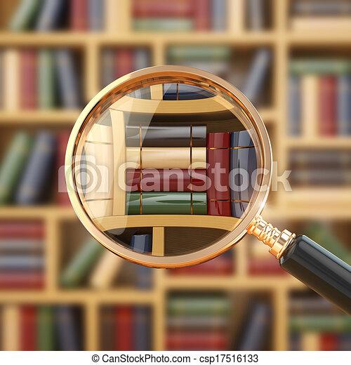 books., lupe, kutató, library. - csp17516133