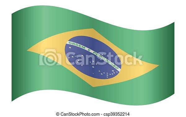 brazília, lenget lobogó, white háttér - csp39352214