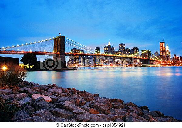 bridzs, város, brooklyn, láthatár, york, új, manhattan - csp4054921